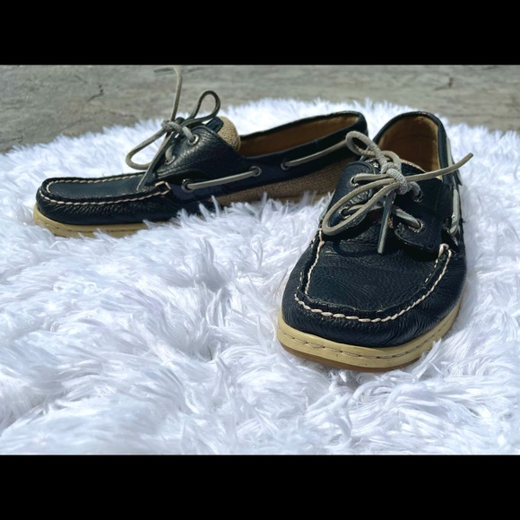 Sperry Topsider boat shoes navy tan leather 9M y2k